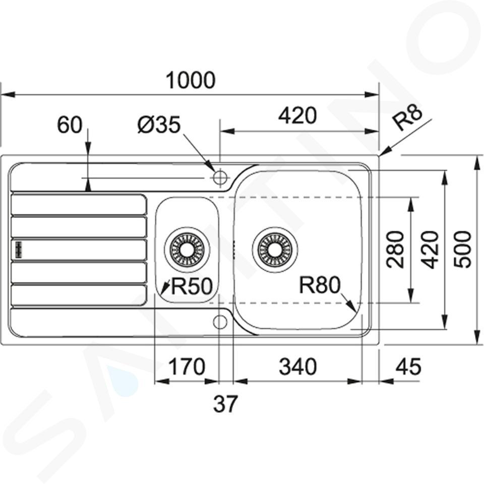 Franke Spark - SKX 651 spoelbak, 1000x500 mm, rvs 101.0504.085