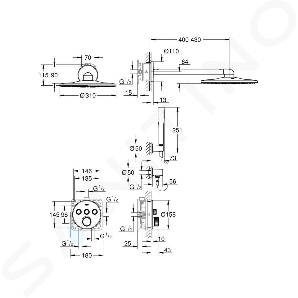 Grohe Grohtherm SmartControl Perfect - Showerset compleet met inbouw thermostaat, chroom 34705000