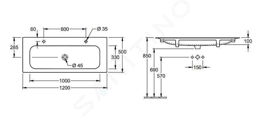 Villeroy & Boch Finion - Lavabo sans trop-plein, 1200x500 mm, avec CeramicPlus, Star White 4164C1R2