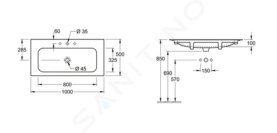 Villeroy & Boch Finion - Lavabo sans trop-plein, 1000x500 mm, avec CeramicPlus, Star White 4164A2R2