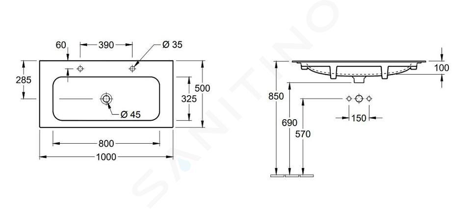 Villeroy & Boch Finion - Dubbele wastafel zonder overloop, 1000x500 mm, met Ceramicplus, Star White 4164A1R2