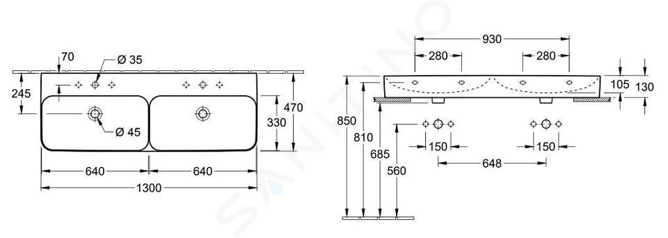 Villeroy & Boch Finion - Dvojumyvadlo bez přepadu, 1300x470 mm, se 2 otvory, s CeramicPlus, alpská bílá 4139DGR1