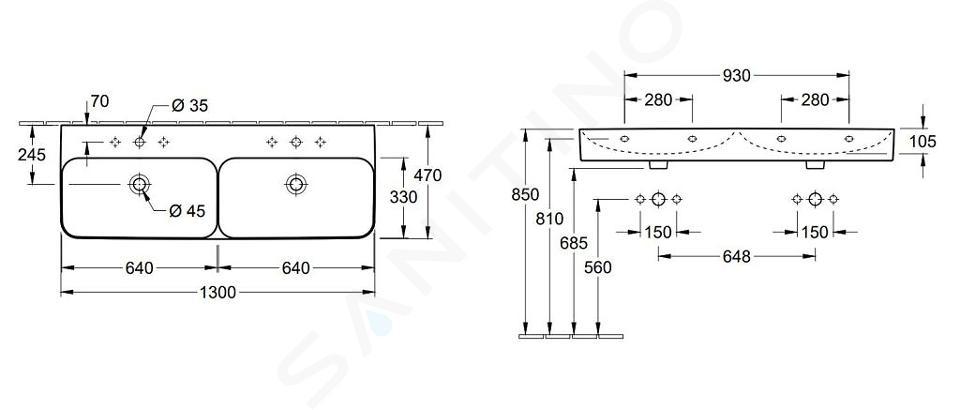 Villeroy & Boch Finion - Dvojumyvadlo se skrytým přepadem, 1300x470 mm, 2 otvory, s CeramicPlus, alpská bílá 4139D8R1