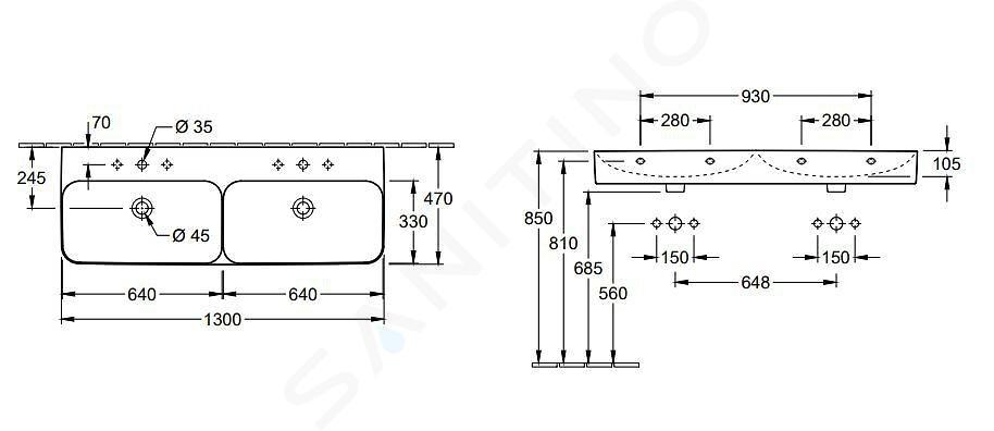 Villeroy & Boch Finion - Dvojumyvadlo, 1300x470 mm, se 2 otvory pro baterie, s CeramicPlus, alpská bílá 4139D5R1