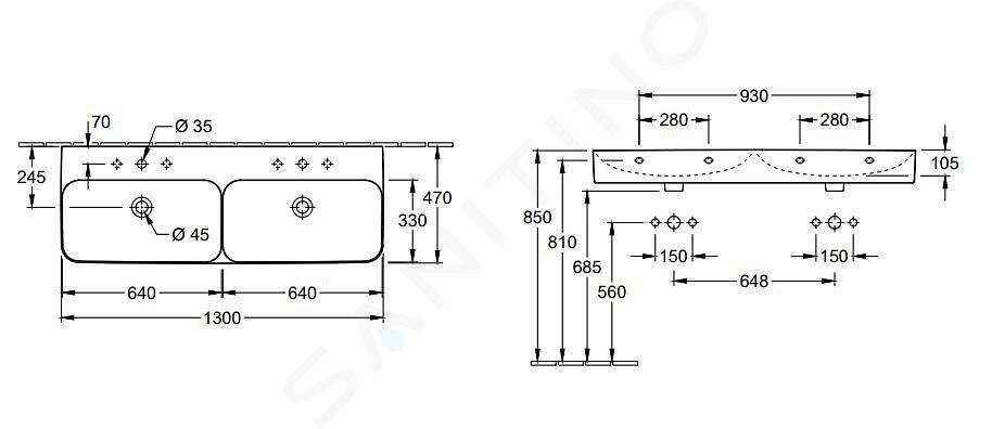 Villeroy & Boch Finion - Dvojumyvadlo, 1300x470 mm, se 2 otvory pro baterie, s CeramicPlus, Star White 4139D5R2