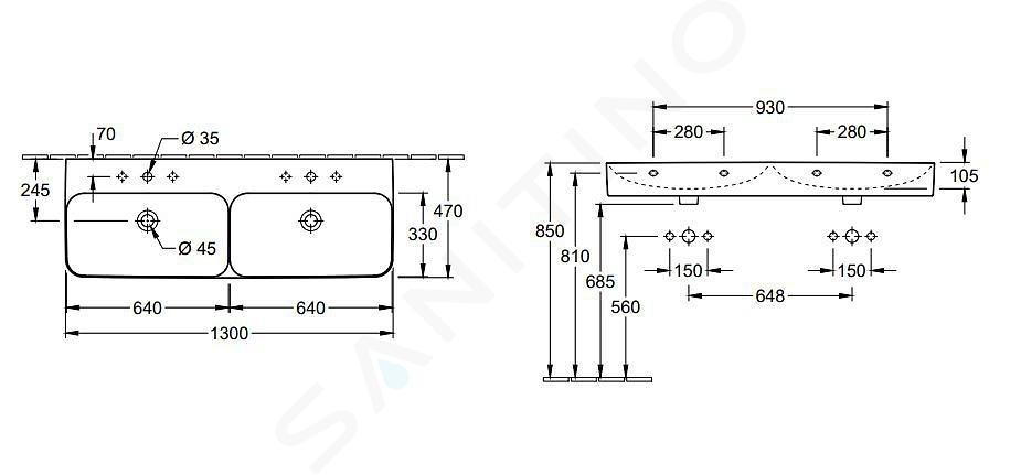 Villeroy & Boch Finion - Dvojumyvadlo 1300x470 mm, se 2 otvory pro baterii, s CeramicPlus, alpská bílá 4139D2R1