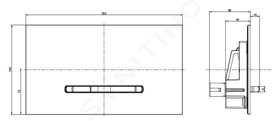 Villeroy & Boch ViConnect - Betätigungsplatte E300, Chrom matt 92218069