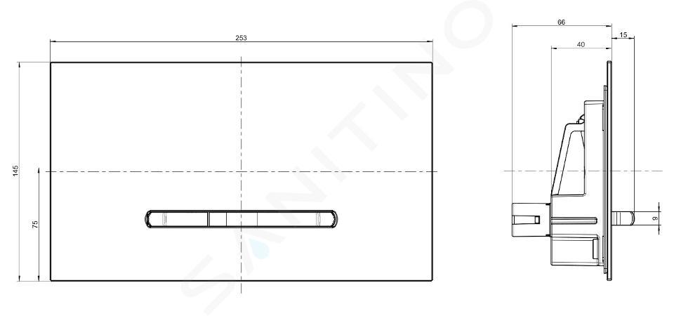 Villeroy & Boch ViConnect - Plaque de déclenchement M300, inox brossé / verre - Glossy Grey 922160RA
