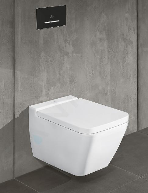 Villeroy & Boch ViConnect - Betätigungsplatte M300, gebürsteter Edelstahl / Glass - Glossy Grey 922160RA