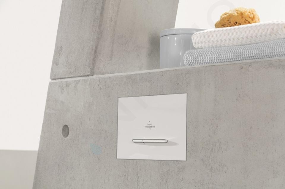 Villeroy & Boch ViConnect - Plaque de déclenchement M300, inox brossé / verre - Glossy White 922160RE