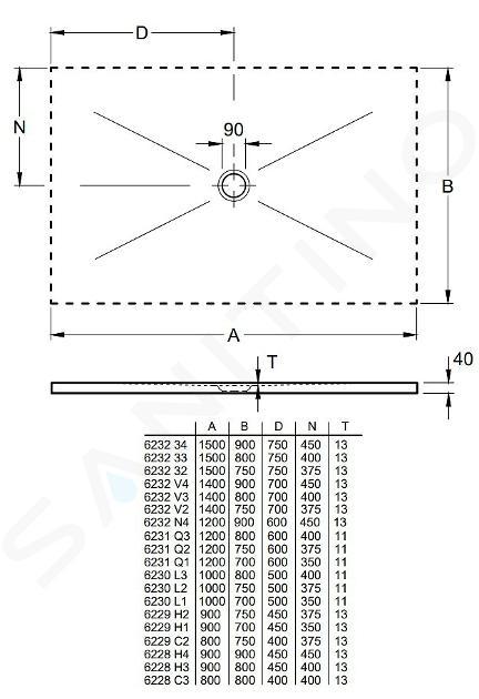 Villeroy & Boch Subway Infinity - Keramická sprchová vanička 1500x900x40 mm, Blue Lagoon 623234VPC9