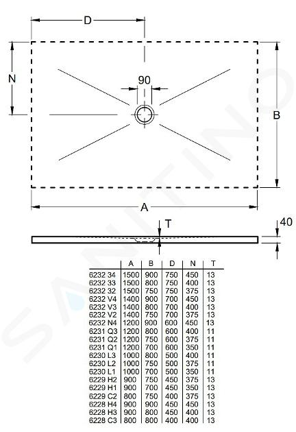 Villeroy & Boch Subway Infinity - Keramická sprchová vanička 1500x800x40 mm, Drift Wood 623233VPC6