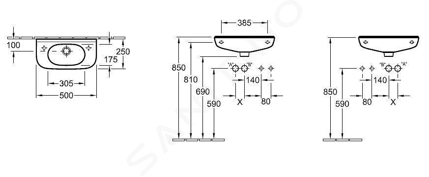 Villeroy & Boch O.novo - Lave-mains Compact un trou avec trop-plein, 500 x 250 mm - traitement antibactérien, blanc alpin 536153T1