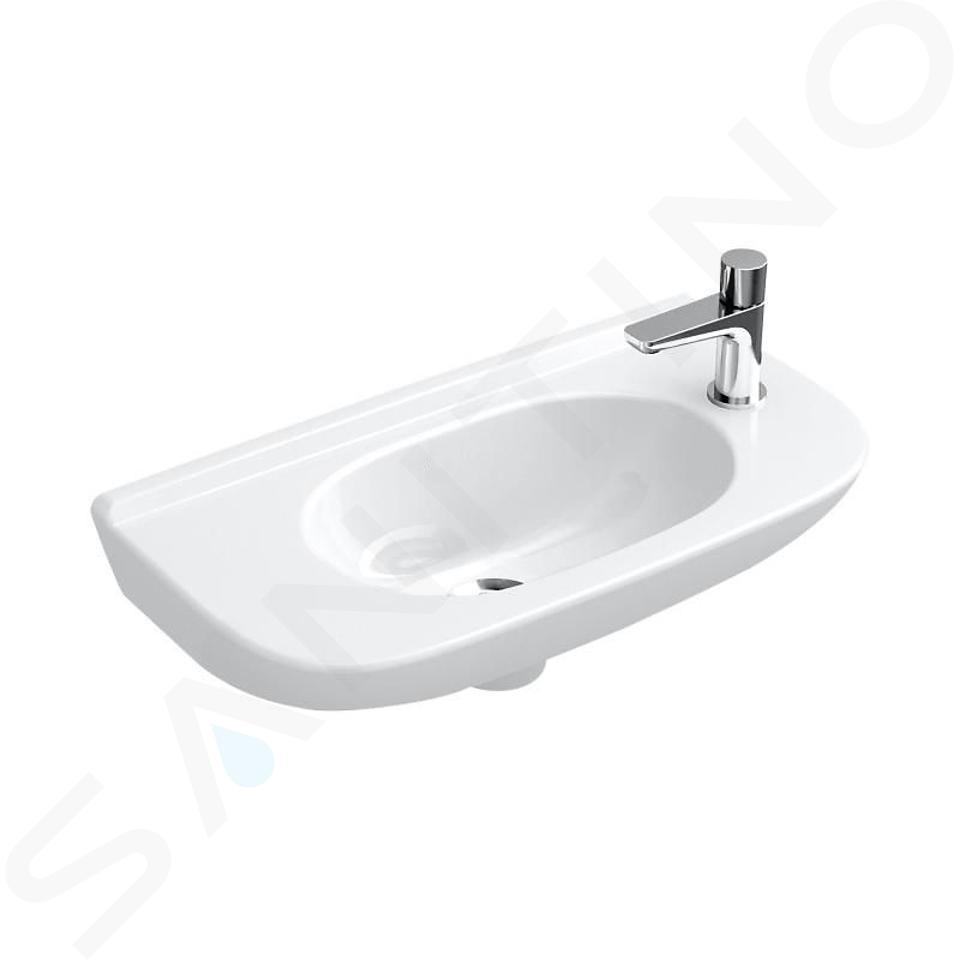 Villeroy & Boch O.novo - Handwaschbecken Compact mit Überlauf,  1 Hahnloch,500 x 250 mm, mit CeramicPlus, Alpinweiß 536153R1