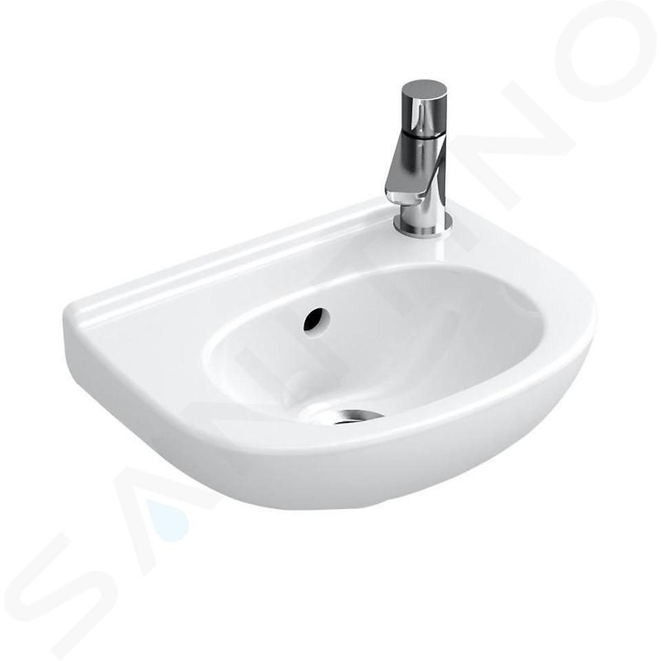Villeroy & Boch O.novo - Lavamani a foro singolo Compact con troppopieno, 360 x 275 mm - con CeramicPlus, bianco alpino 536039R1