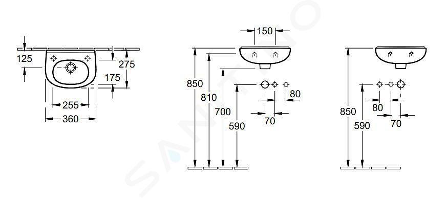 Villeroy & Boch O.novo - 1-gats Compact fontein met overloop, 360 x 275 mm - antibacterieel, alpine wit 536039T1
