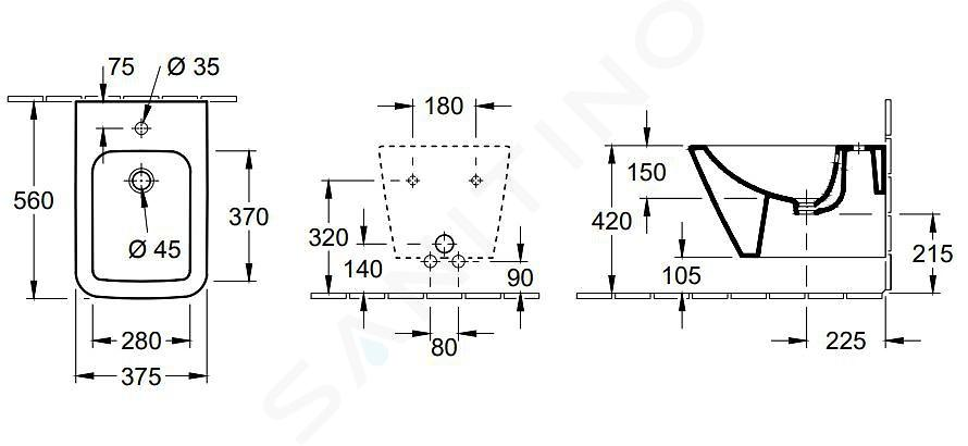 Villeroy & Boch Finion - Bidet suspendu avec trop-plein, 375x560 mm, avec CeramicPlus, blanc alpin 446500R1