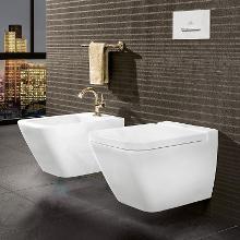 Villeroy & Boch Finion - Wand-Bidet mit Überlauf, 375x560 mm, mit CeramicPlus, Star White 446500R2