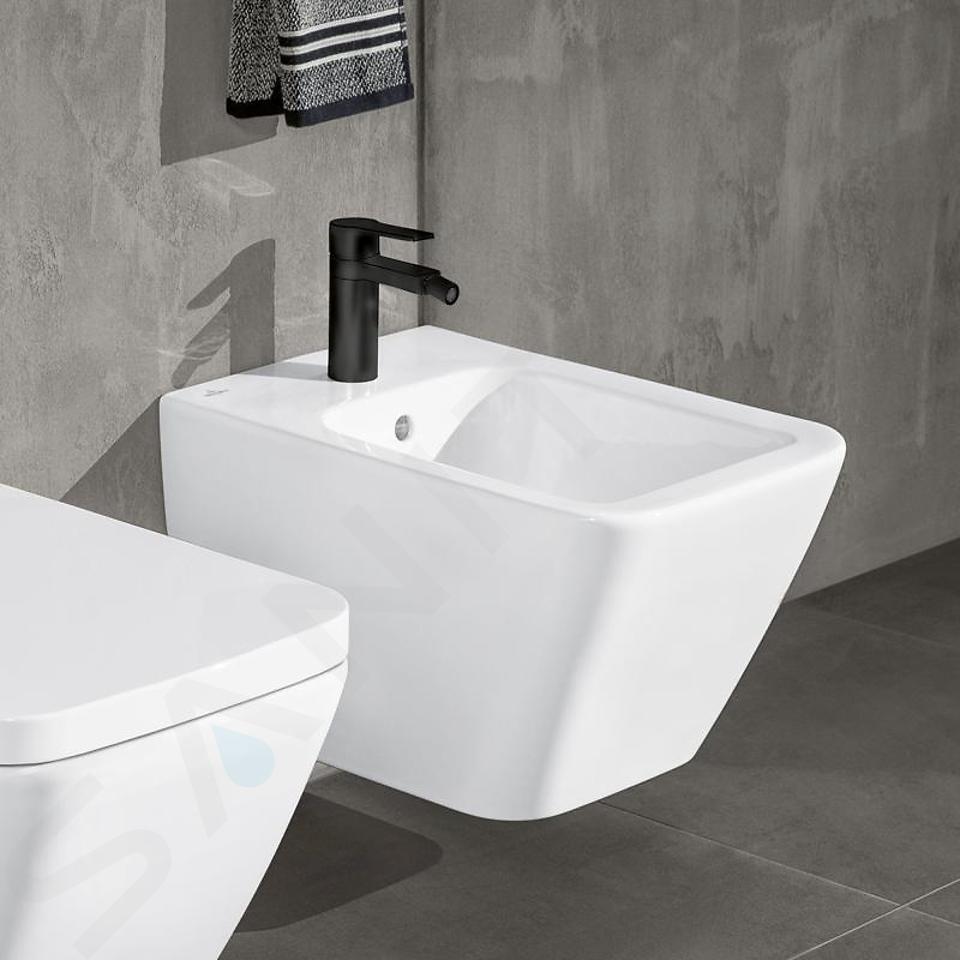 Villeroy & Boch Finion - Bidet suspendu avec trop-plein, 375x560 mm, avec CeramicPlus, Star White 446500R2