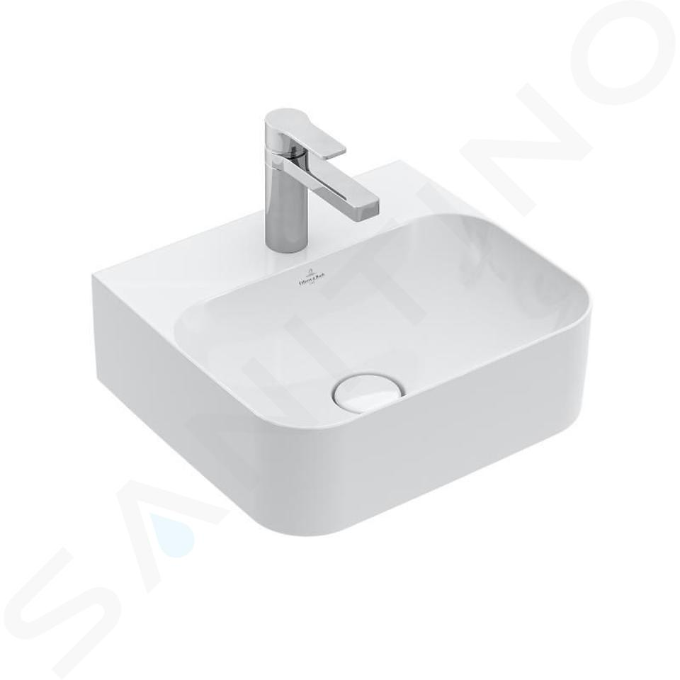 Villeroy & Boch Finion - Handwaschbecken mit verdecktem Überlauf, 430x390 mm - mit CeramicPlus, Star White 436444R2