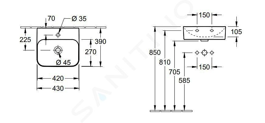 Villeroy & Boch Finion - Umývátko bez přepadu, 430x390 mm, s CeramicPlus, Star White 436443R2