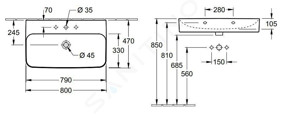 Villeroy & Boch Finion - Wastafel zonder overloop, 800x470 mm, met Ceramicplus, Star White 416881R2