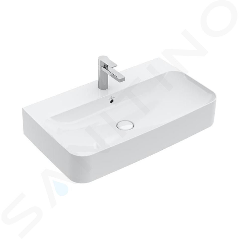 Villeroy & Boch Finion - Lavabo avec trop-plein, 800x470 mm, avec CeramicPlus, blanc alpin 416880R1