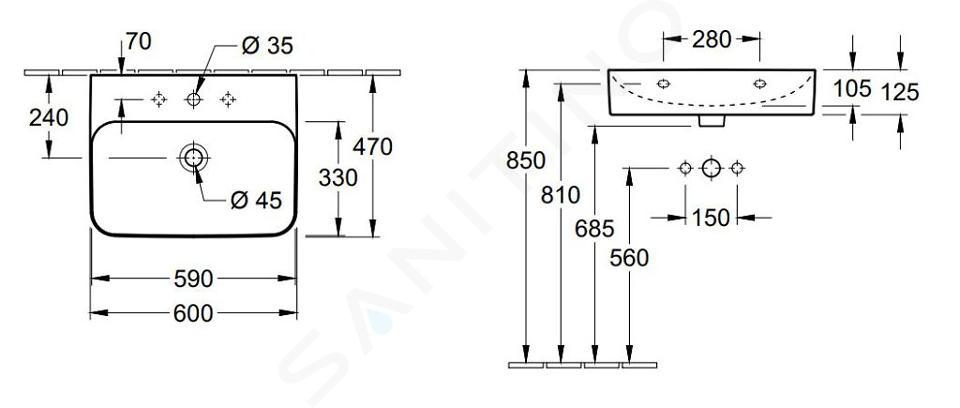 Villeroy & Boch Finion - Umyvadlo se skrytým přepadem, 600x470 mm, s CeramicPlus, alpská bílá 416864R1