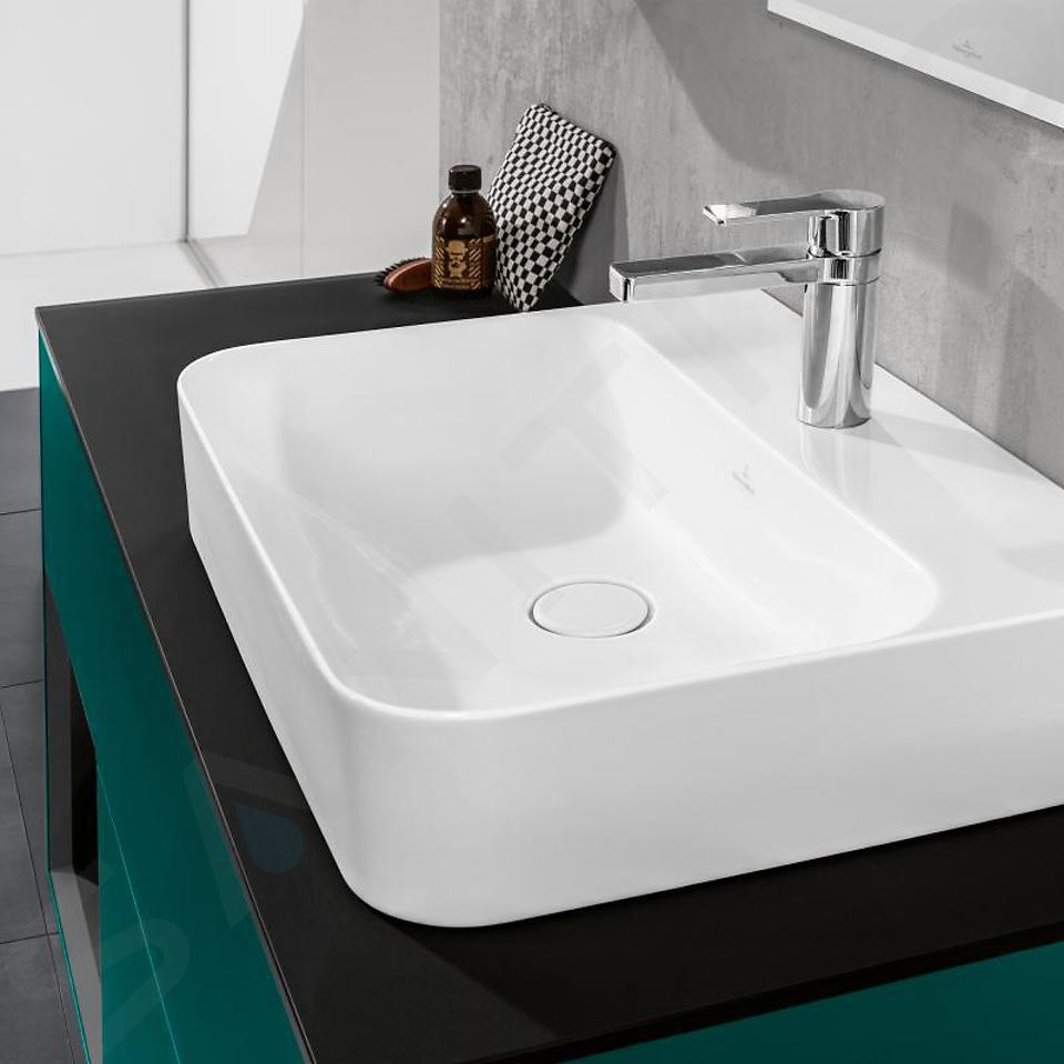 Villeroy & Boch Finion - Wastafel met verborgen overloop, 600x470 mm, met Ceramicplus, Star White 416864R2