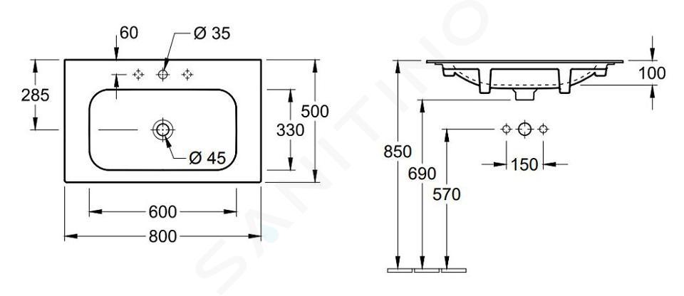 Villeroy & Boch Finion - Umyvadlo bez přepadu, 800x500 mm, s CeramicPlus, alpská bílá 416481R1