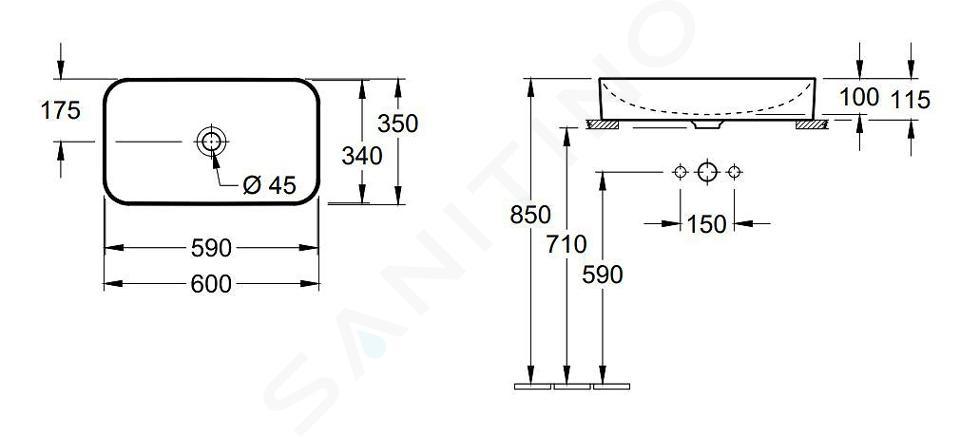 Villeroy & Boch Finion - Opzetwastafel zonder overloop, 600x350 mm, met Ceramicplus, alpine wit 414361R1