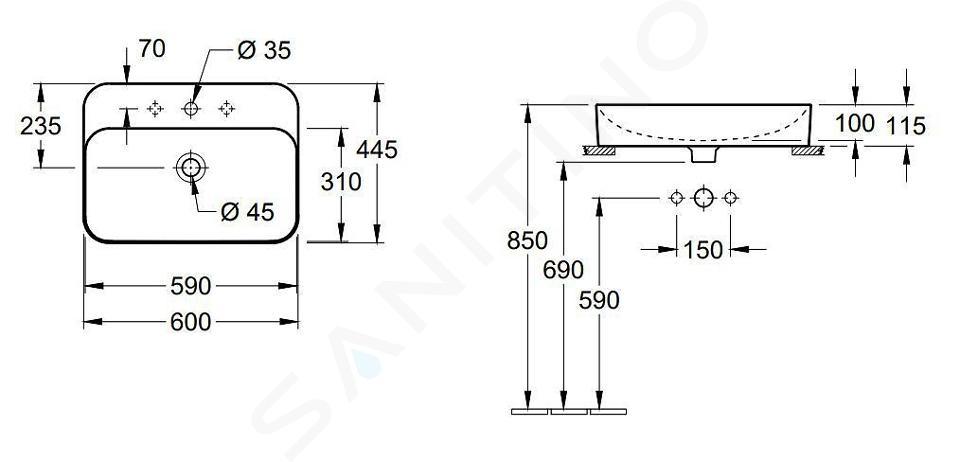 Villeroy & Boch Finion - Aufsatzwaschbecken mit verdecktem Überlauf, 600x445 mm, mit CeramicPlus, Star White 414264R2
