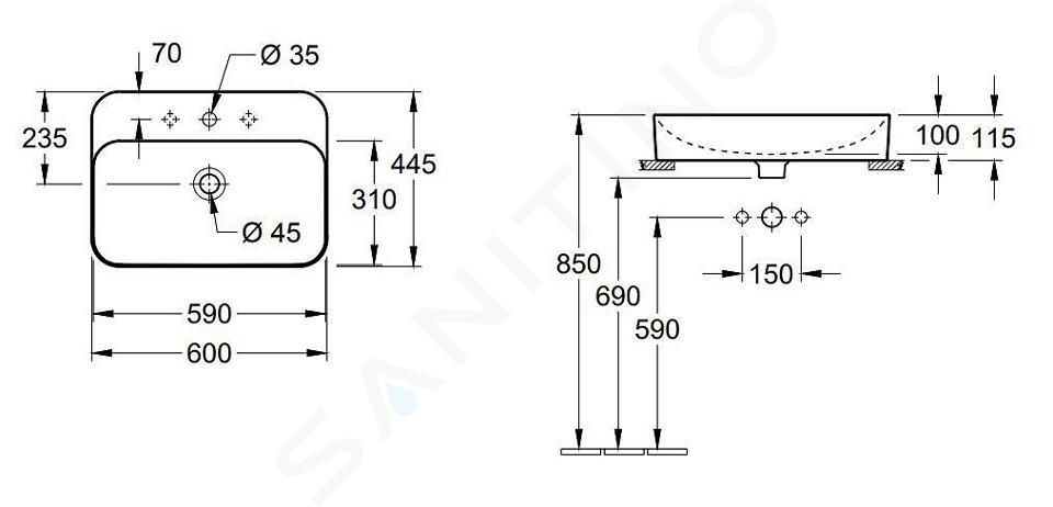 Villeroy & Boch Finion - Umyvadlo na desku bez přepadu, 600x445 mm, s CeramicPlus, Star White 414261R2