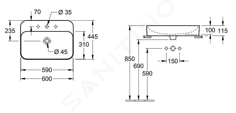 Villeroy & Boch Finion - Opzetwastafel met overloop, 600x445 mm, met Ceramicplus, alpine wit 414260R1