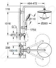 Grohe Euphoria - Set doccia con termostato a parete, 260 mm, cromato 27615001