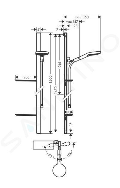 Hansgrohe Raindance - Glijstangset Select S 120, 3jet, glijstang 1,50 m, chroom 27646000