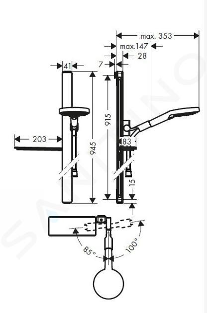 Hansgrohe Raindance Select S - Brausegarnitur 120, 3 Strahlen, Duschstange 900 mm, weiß / verchromt 27648400