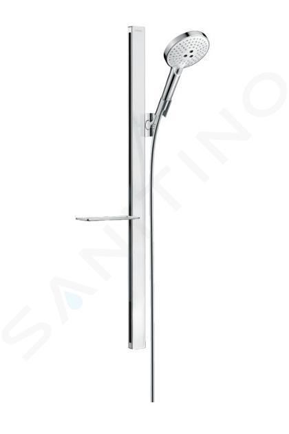 Hansgrohe Raindance Select S - Brausegarnitur 120, EcoSmart 9l/min, 3 Strahlen, Duschstange 900 mm, weiß / verchromt 27649400