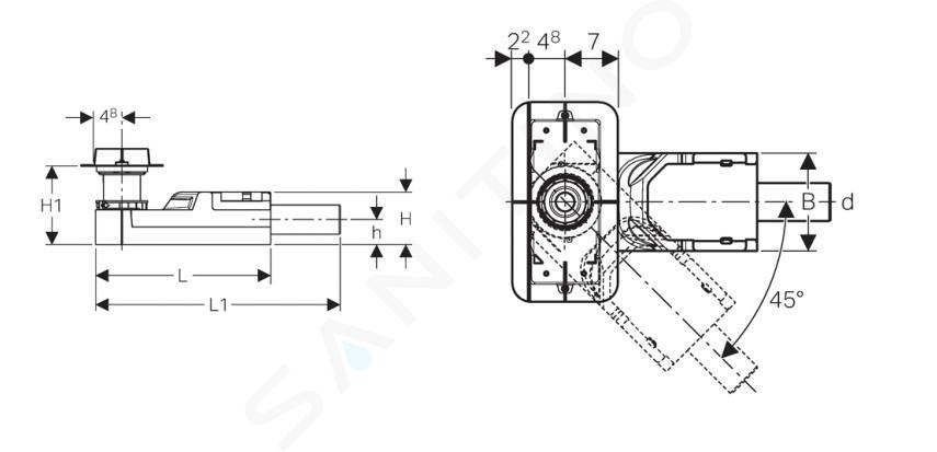 Geberit CleanLine - Souprava pro hrubou montáž sprchového kanálku, pro podlahy 90-200 mm, odpad 50 mm 154.150.00.1