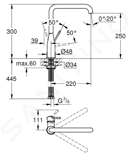 Grohe Essence - Keukenkraan, grafiet donker, geborsteld 30269AL0