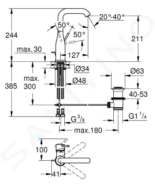 Grohe Essence - Páková umývadlová batéria L, Cool Sunrise 32628GL1