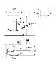 Grohe Bau Ceramic - Umyvadlo 553x386 mm, s 1 otvorem pro baterii, alpská bílá 39440000