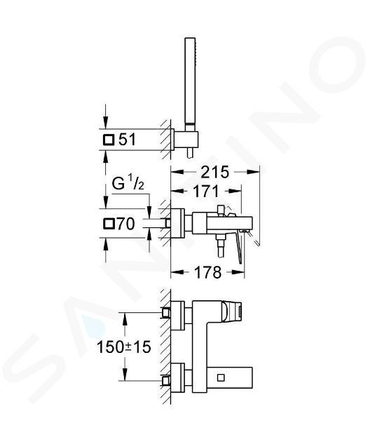 Grohe Eurocube - Miscelatore monocomando per vasca da bagno, cromato 23141000