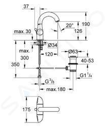 Grohe Aria - Umyvadlová 1-otvorová baterie, chrom 21090000