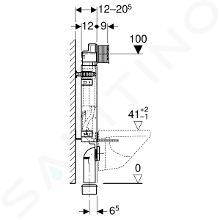 Geberit Kombifix - Montážní prvek pro závěsné WC, 108 cm, splachovací nádržka pod omítku Sigma 12 cm, pro odsávání zápachu 110.367.00.5