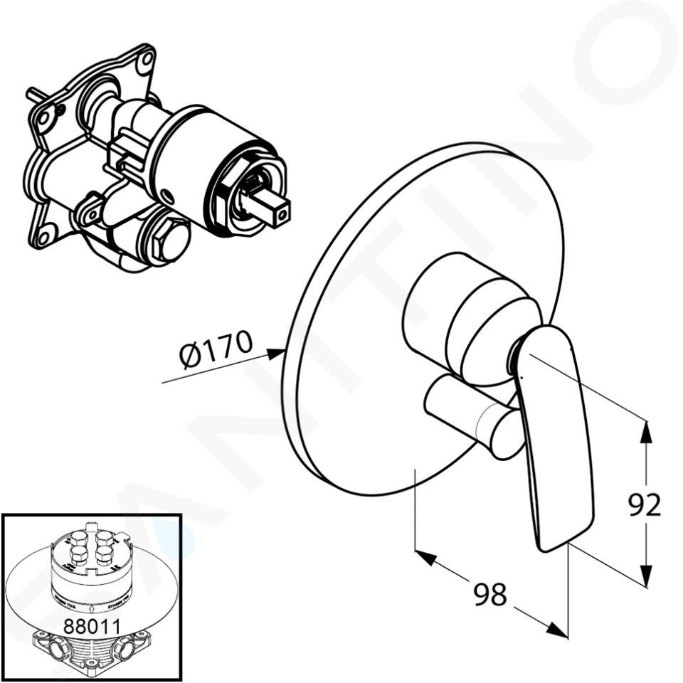 Kludi Balance - Mitigeur encastré pour 2 appareils, chrome 526500575