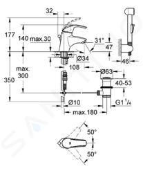 Grohe Eurosmart - Umyvadlová baterie Hygienica, chrom 33446001