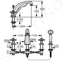Kludi Adlon - 4-gats badrandcombinatie, messing 515244520