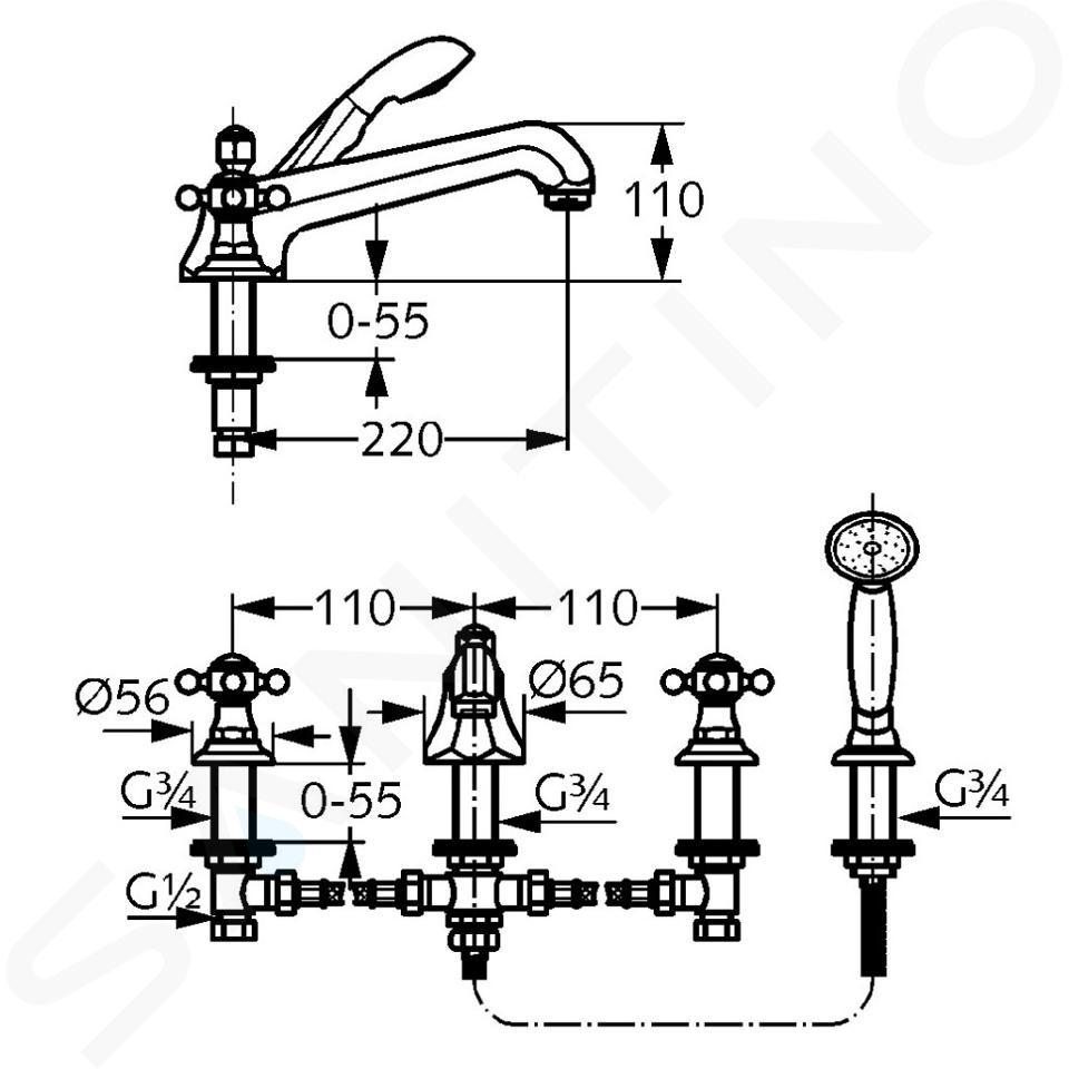 Kludi Adlon - Miscelatore a 4 fori per vasca da bagno, ottone 515254520