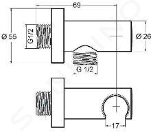 Kludi Coudes de douche - Coude de raccordement mural, chrome 6054705-00